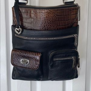 Brighton black genuine leather cross body purse